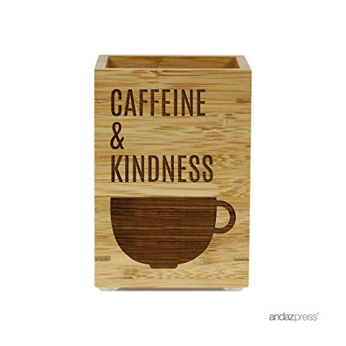 Andaz Press Engraved Office Pen Stand Holder Gift, Caffeine and Kindness, 1-Pack, Bamboo Wooden Coffee Decor Gifts ()
