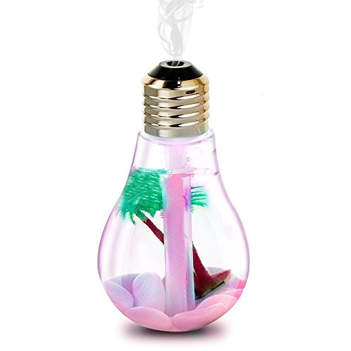 Maxcury 400mL Creative Bulb Clean-Humidifier Small Atomizer Aromatherapy Colorful USB Mini Desktop LED Night Lights Essential Purifier for Office Home Kids Study (Silver Head) (Oil Vaporizer Atomizer compare prices)