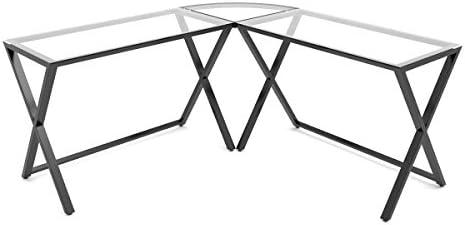 Ryan Rove Keeling X Glass Large Modern L-Shaped Desk Corner Computer Office Desk