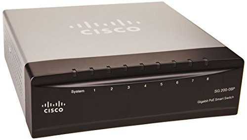 Cisco SG200-08P 8-port (4 Reg + 4 PoE) Gigabit PoE Smart Switch (SLM2008PT-NA)