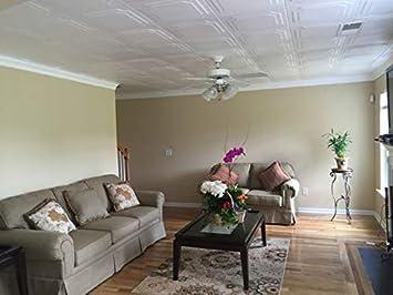 A la Maison Ceilings 1005 The Virginian – Styrofoam Ceiling Tile Package of 8 Tiles , Plain White