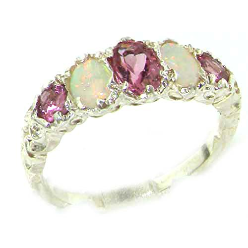 925 Sterling Silver Natural Pink Tourmaline and Opal Womens Band Ring - Sizes 4 to 12 Available by LetsBuySilver