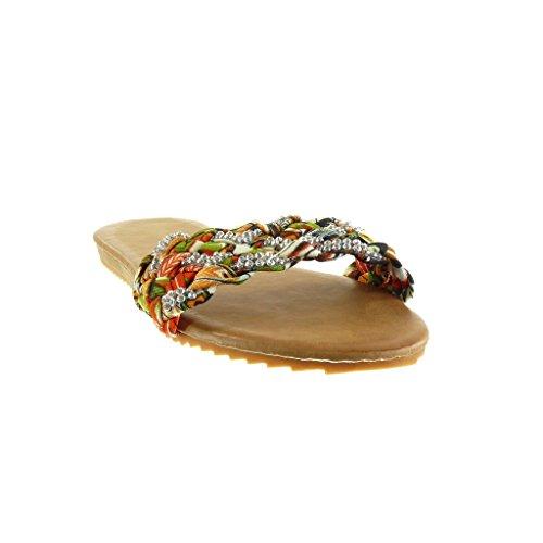 Angkorly - Scarpe da Moda sandali infradito donna tanga intrecciato strass Tacco tacco piatto 1.5 CM - Beige