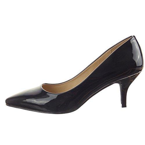 Sopily - Zapatillas de Moda Tacón escarpín decollete Stiletto Tobillo mujer brillantes Talón Tacón de aguja alto 6.5 CM - Negro
