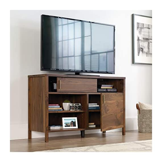 """Sauder Harvey Park TV Stand, For TV's up to 50"""", Grand Walnut finish - Accommodates up to a 50"""" TV weighing 70 lbs. or less for optimal viewing Sliding panel conceals cubbyhole storage to keep your clutter hidden Two adjustable shelves for flexible storage options - tv-stands, living-room-furniture, living-room - 412d8nMfM6L. SS570  -"""