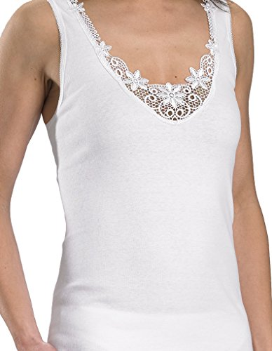Slenderella Cotton White Embroidered Sleeveless Cami Top V12