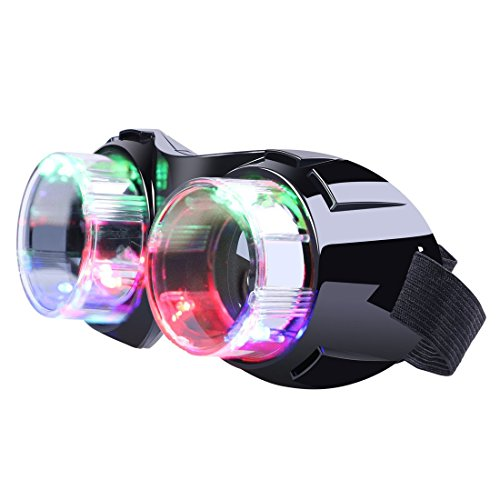 M AOMEIQI Light Up Glasses, LED Glasses for Class Events School Evening Club Activities Corporate Events Million Night Party Games Cheer, LED Goggles - For Red Contact Halloween Lenses