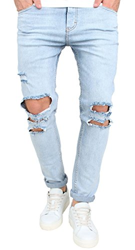 (MEIKESEN Men's Blue Ripped Destroyed Stretchy Knee Holes Slim Tapered Leg Jeans Denim Pants 34)