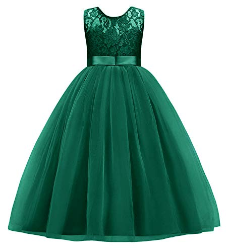Little Big Girls Embroidery Sleeveless Vintage Flower Lace Bridesmaid Dress Kids Floor Length Dance Long A Line Wedding Pageant Dresses Tulle Party Formal Prom Maxi Ball Gown Dark Green 9-10 Years ()