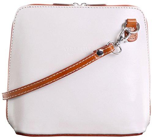 Italian Leather, Cream and Tan Small/Micro Cross Body Bag or Shoulder Bag Handbag. Includes Branded a Protective Storage Bag.