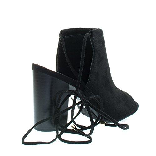 Sandalo Con Cinturino Alla Caviglia Con Cinturino E Tallone Aperto. F-suede Nero