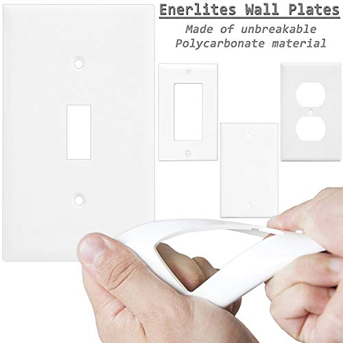 Enerlites 8811-W-10PCS Toggle Wall Plate, Standard Size 1-Gang, Unbreakable Polycarbonate, White (10 Pack) by ENERLITES (Image #1)