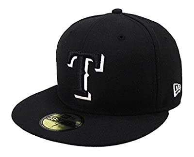 New Era MLB cap Texas Rangers 59fifty men's headwear black/white fitted hat (7 1/4)