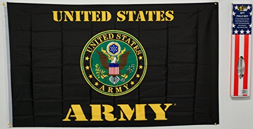 U.S United States Army Black Green US 3x5 Flags Super Polyester Nylon W/ Pole Flag 3'x5' House Banner 90cm x 150cm Grommets Double Stitched Premium Quality Indoor Outdoor Pole Pennant by MWS