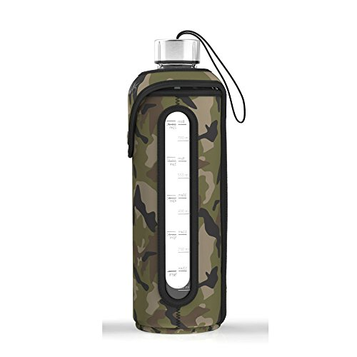 32 Oz Glass Water Bottle Insulated Sleeve Leak Proof Lids Time Markings & Measurements BPA Free For To-Go Travel At Home Reusable Safe For Hot Liquids Tea Coffee Daily Intake (Multi-cam Green) Cami Coffee