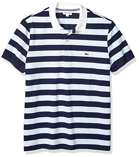 Lacoste Men's S/S Polo Pique Regular FIT Striped, Navy Blue/Creek/Flour, Large (Mens Striped Pique Polo)