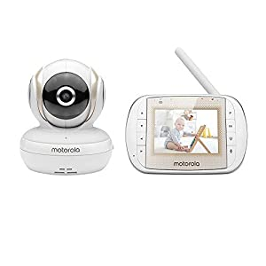 Motorola MBP30A Video Baby Monitor with 3″ Handheld Parent Unit and Remote Pan Scan
