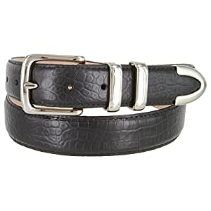 Genuine Italian Calfskin Embossed Leather Casual Dress Belt 1-1/4″ Wide
