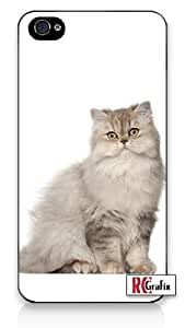 Happy Persian Kitty Cat with Attitude iPhone 5 Quality Hard Snap On Case for iPhone 5/5s - AT&T Sprint Verizon - White Case
