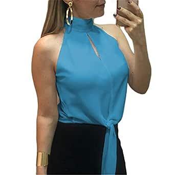 QIYUN.Z Camiseta de Mujer sin Mangas con Cuello Alto y Corbata de ...