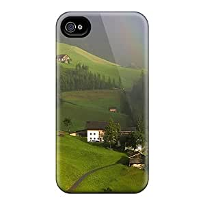 Anti-scratch And Shatterproof Rainbow Over Village In Tyrol Austraia Phone Case For Iphone 4/4s/ High Quality Tpu Case