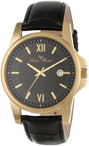Lucien Piccard Men's 10048-YG-01 Breithorn Black Textured Dial Black Leather Watch