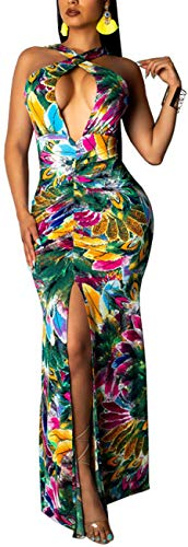 Women's Bodycon Halter Dress Maxi Sexy Sleeveless Backless Bandage Long Floral Cocktail Party Gown Elegant Split Stretchy Evening Outfits Colorful ()