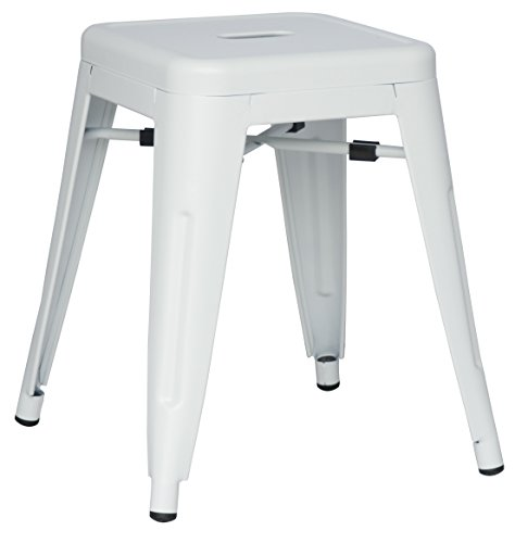 Chintaly Imports White Galvanized Steel Backless Stools, Set of 4 -