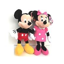 "Disney Mickey and Minnie Mouse 10"" Plush Bean Bag Doll"