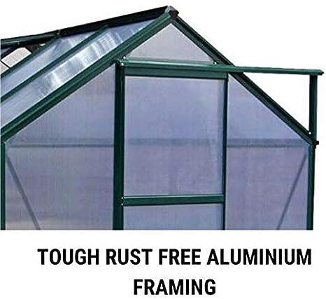 Single Sliding Door Twin-Wall Polycarbonate Glazing BillyOh Rosette Grey Hobby Aluminium Greenhouse 6 x 4