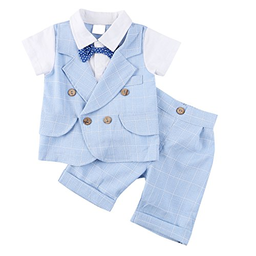 Baby Boy Gentleman Short Sleeve Clothing Set Toddler Outfit with Plaid Tops Pants Bowtie (Toddler Blue Tuxedo)
