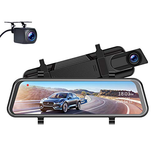 "TOGUARD 1080P Mirror Dash Cam for Cars with Waterproof Backup Camera, 10"" IPS Full Touch Screen Car Camera Dual Dash Cam Front and Rear Rearview Mirror Cameras Parking Assistance"