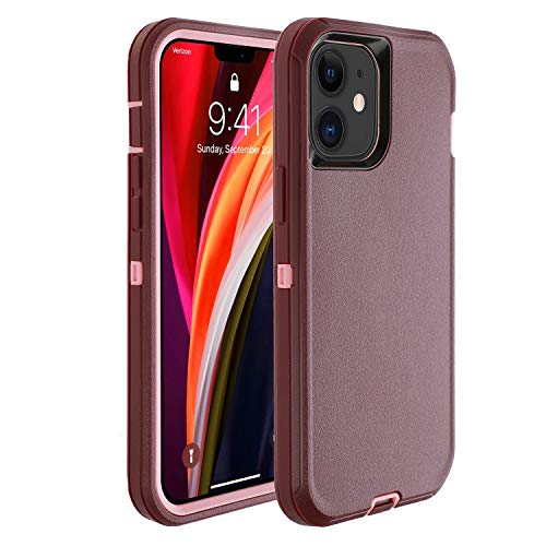 smartelf Compatible with iPhone 12 Mini Case(2020) 5.4 inch,Heavy Duty Shockproof Drop Protecton Hybrid 3 Layer Duable Hard Phone Cover-Purple/Pink