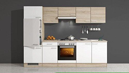 Küchenzeile 270 cm weiß sonoma eiche mit geräten salerno amazon de küche haushalt