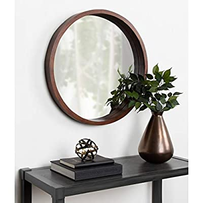 Kate and Laurel Hutton Round Decorative Modern Wood Frame Wall Mirror, 22 Inch Diameter, Natural Finish