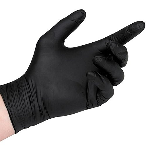 Black Nitrile Disposable Gloves, 5 Mil Thickness, Powder Free, Textured Fingertips, Latex Free, Heavy Duty (100, -