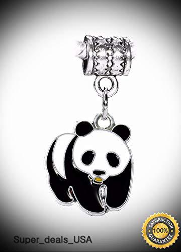 3d Halloween Rainbow Loom (Panda Bear Black Enamel Zoo Animal Dangle Charm for Silver European Bracelets DIY Handmade Ornament)