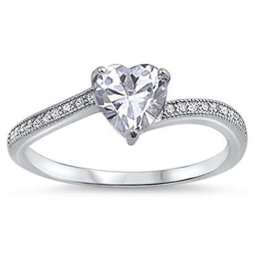 Oxford Diamond Co Heart Shaped Clear Cubic Zirconia Promise .925 Sterling Silver Ring Sizes 4