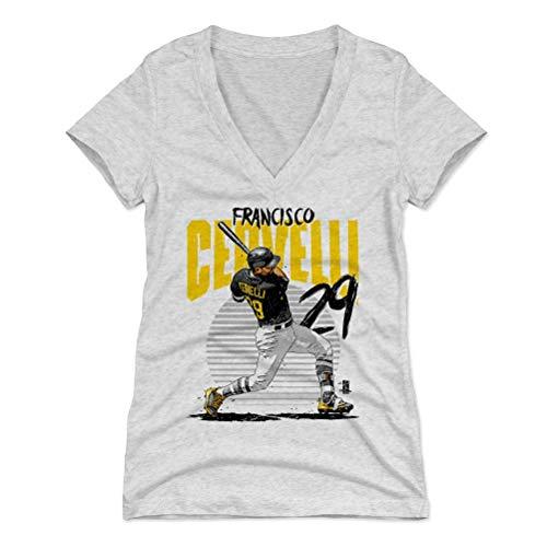 500 LEVEL Francisco Cervelli Women's V-Neck Shirt X-Large Tri Ash - Pittsburgh Pirates Women's Apparel - Francisco Cervelli Rise Y