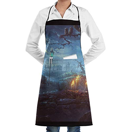 (NRIEG Halloween Themed Wallpaper Faction Unisex Kitchen Cooking Garden Apron,Convenient Adjustable Sewing Pocket Waterproof Chef)