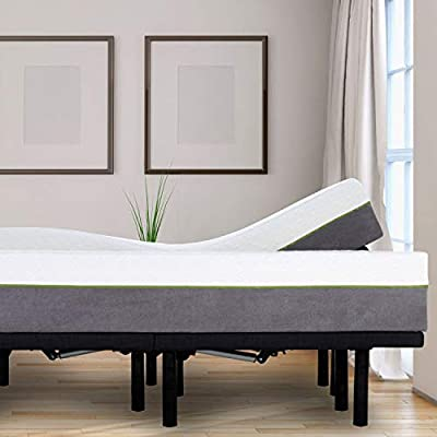 Adjustable Bed Frame and 12 Inch Copper Infused Cool Memory Foam Mattress Medium Firm Feel CertiPUR-US Certified