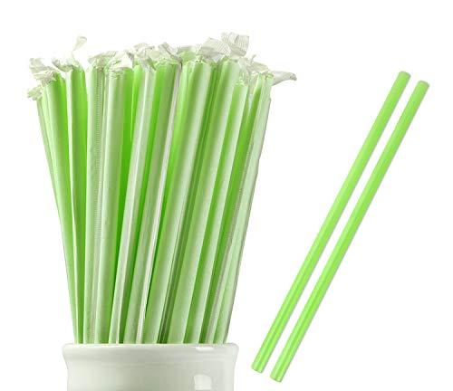 (Webake 100% Compostable Smoothie Straws 9 Inch Long Wide Drinking Straw Eco Friendly Plant-based PLA, Plastic Alternative Straws for Milkshake, Slushie (Pack of 100, Individually Wrapped))