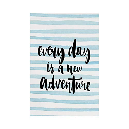 Polyester Garden Flag Outdoor Flag House Flag Banner,Adventure,Every Day is a New Adventure Quote Inspirational Things About Life Artwork,Baby Blue Black,for Wedding Anniversary Home Outdoor Garden De