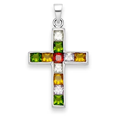 Sterling silver cubic zirconia cross pendant set with 11 multicolour sterling silver cubic zirconia cross pendant set with 11 multicolour stones size 30mm x aloadofball Image collections