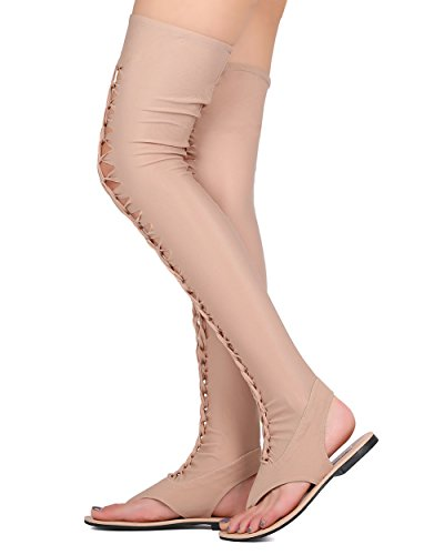Cape Robbin Donna Elle-1 Thigh High Sandal Nude Nude Fabric