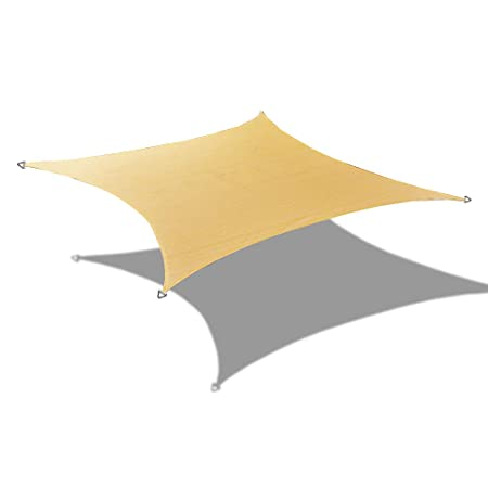 Alion Home Custom Sizes Rectangle PU Waterproof Woven Sun Shade Sail with Stainless Steel Hardware Kits 14 x 12 , Sand