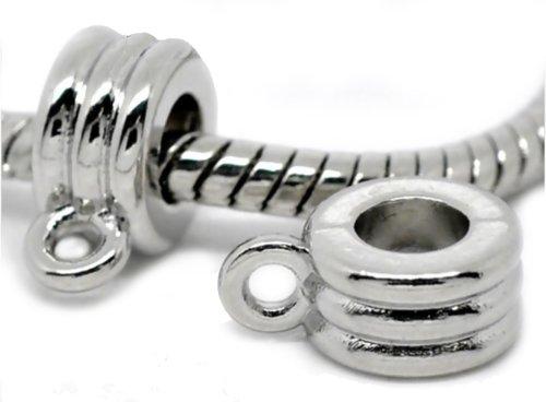 4 Silver Tone European Bail Charm Spacer Bead
