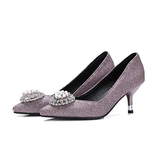 Fina Tacón con de Otoño Sra de y Zapatos Zapatos Punta La Primavera Dulce luz Boquilla de Violet con la la aq1q5WTOx