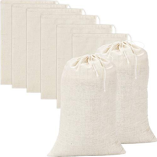 Pangda 20 Pieces Large Muslin Bags Cotton Drawstring Bags, 8 by 12 - Drawstring Bag Cotton