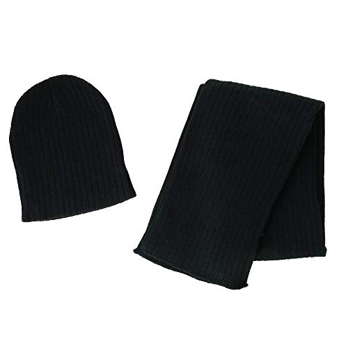 CTM Boy's 4-7 Solid Ribbed Slouchy Beanie Hat with Scarf Set, Black